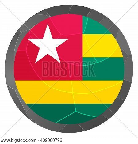 Glass Light Ball With Flag Of Togo. Round Sphere, Template Icon. National Symbol. Glossy Realistic B