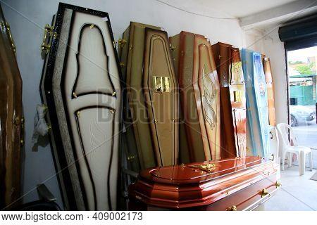 Deceased Coffin In Funeral Home
