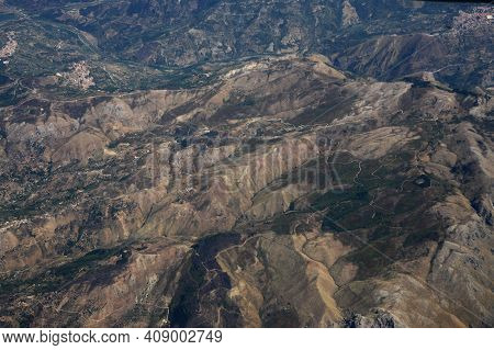 A Airview From A Airplane In The Province Of Sicily In Italy.   Italy, Sicily, October, 2014