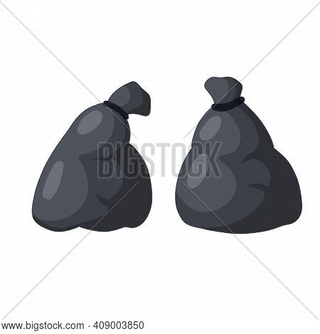 Black Trash Bag And Trash. Set Of Objects. Cartoon Flat Illustration. Plastic Packaging. Processing