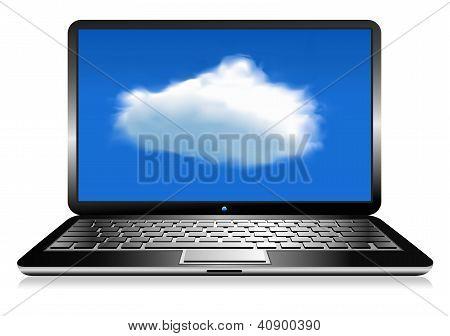 Laptop Cloud Connection Wifi Digital