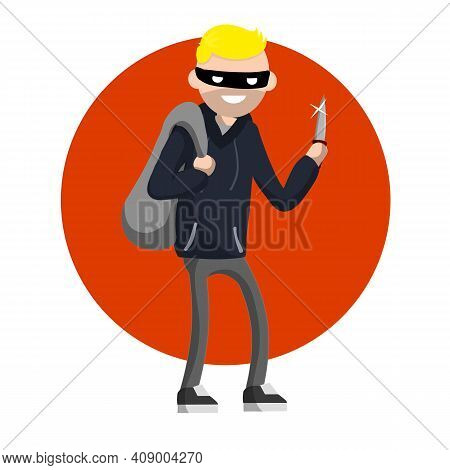Man With Knife Extorting Money. Hand Holding Green Cash. Problem Of Urban Security. Thief At Work. E