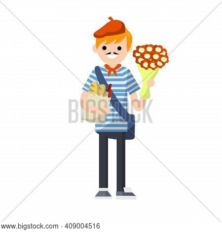 Cartoon Flat Illustration - Young Guy In Striped Clothes And Beret.man With A Bouquet Of Flowers, Pa