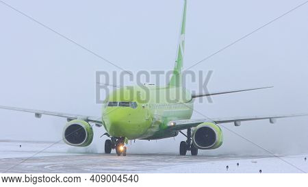 10-02-2021 Kazan, Russia, Kazan International Airport : A Big Plane From S7 Airlines Campaign On The