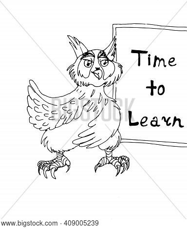 Wise Owl Shows Time To Learn On The Blackboard Isolated On White Background. Education Concept. Cart