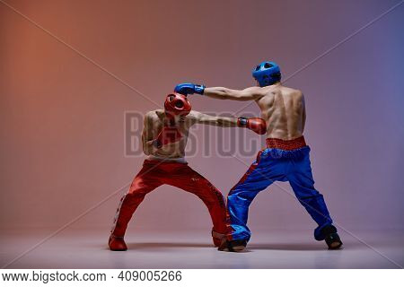 Jab Of Professional Athletic Fighter Boxer, Fighting Guys In Boxing Gloves During Sparring, Martial