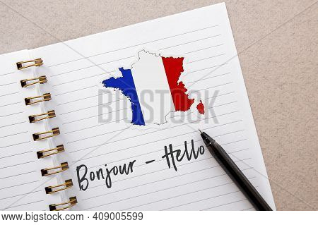 Student Notebook With French Flag And Map Of France, Inscription Hello In French, Foreign Language L