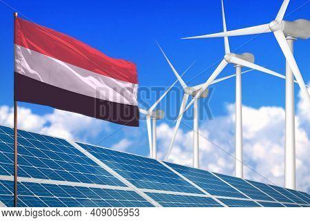 Yemen Solar And Wind Energy, Renewable Energy Concept With Windmills - Renewable Energy Against Glob