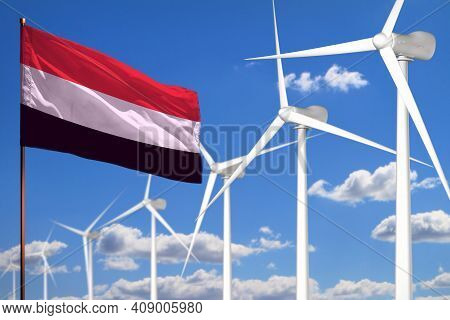 Yemen Alternative Energy, Wind Energy Industrial Concept With Windmills And Flag - Alternative Renew