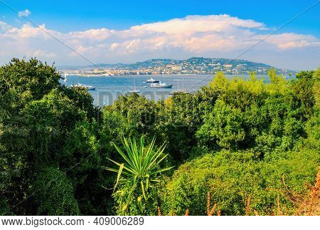 Stunning View From Sainte-marguerite Island To Strait In Mediterranean Sea With Yachts And Sailboats
