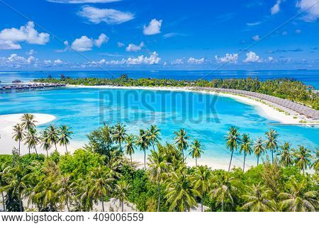 Amazing Aerial View Of Maldives Islands, Tropical Summer Beach. Island Landscape Of Palm Trees, Ocea