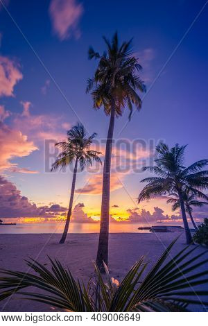 Stunning Summer Scene With Coconut Palm Trees On Beach At Sunset. Colorful Sky View With Clouds And