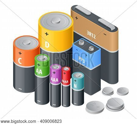 Isometric Alkaline Battery, Accumulators. Alkaline Cylinder, Accumulator And Coin Cells. Group Of Di