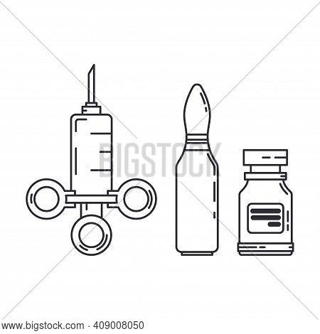 Line Medical Pharmaceutica Set Icon Flask, Ampoule, Syringe. Professional Equipment Symbol. Science,