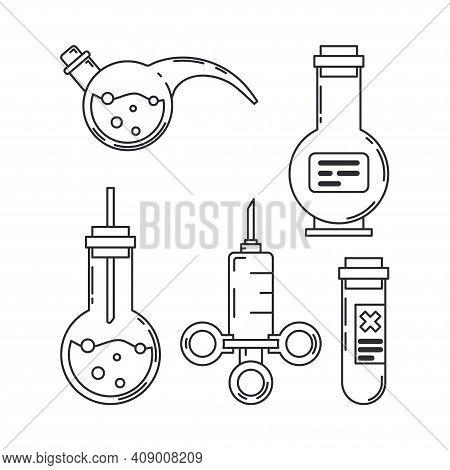 Line Medical Pharmaceutica Icon Set Retort, Tube, Syringe. Professional Equipment Symbol. Science, P