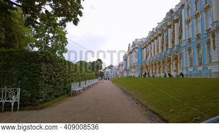 Pushkin, St. Petersburg, Russia - August, 2019: Facade Of Catherine Palace. Famous Catherine Park. W