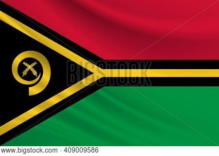 Flag Of Vanuatu. Fabric Texture Of The Flag Of Vanuatu.