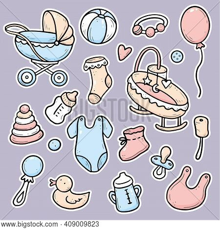 Hand Drawn Stickers Of Baby Shower Things, Toy, Rattle, Milk Bootle, Clothes. Doodle Sketch Style. B