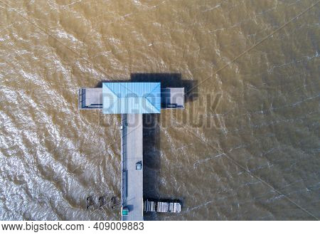 Aerial View Of Mayday Park Pier On Mobile Bay From Daphne, Alabama In February Of 2021