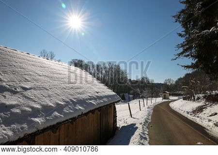 Winter Landscape. On A Clear Sunny Winter Day