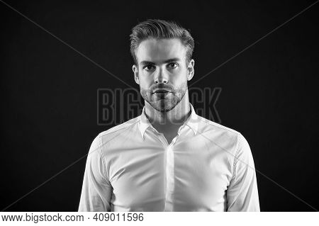 Expert Haircare. Handsome Guy With Stylish Haircut Dark Background. Hair Care And Styling Cosmetics.