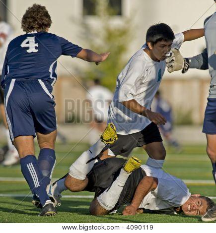 Boys Varsity Soccer Faceplant