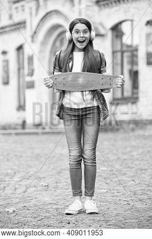 Perfect Travel Skateboard. Happy Girl Hold Penny Board Urban Outdoors. Summer Travel. Transportation