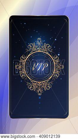 Vectors Vip Card. Gold Card. Round Design Element. Blue Lilac Gradient Geometric Ornament In Orienta