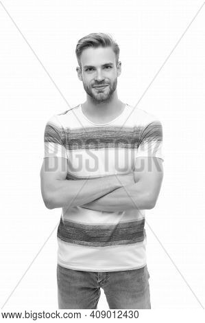 Casual Styled Man With Unshaven Face Having Bristle And Groomed Hair Isolated On White Background, M