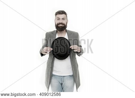 Man Bearded Guy Magician. Magic Trick Performance Concept. Circus Magic Trick Performance. Entertain