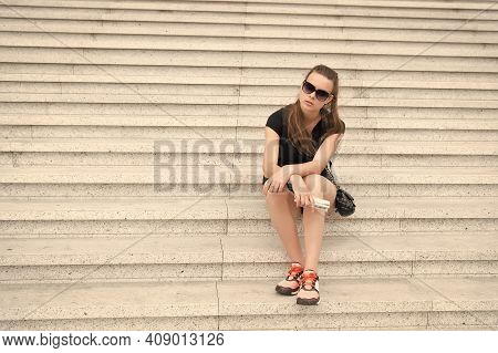 Overcome Challenge. Pretty Woman Sit On Stairs. High Level Of Ambition. Personal Ambition. Motivatio