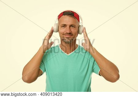 Live Life Loud. Handsome Guy Wear Headset Isolated On White. Mature Man Listen To Music In Headset.