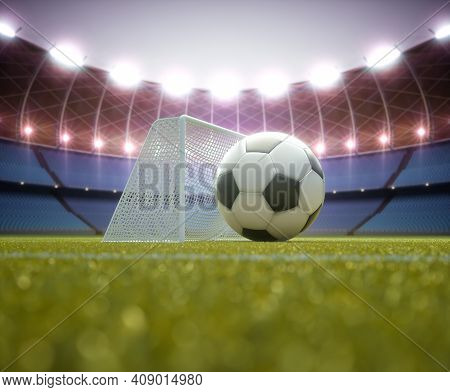Soccer Ball Bigger Than The Goal. Game Concept Impossible To Score. 3d Illustration.
