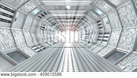 Front View Of Interior Of Long Illuminated Corridor With Cube Textured Walls Of Spaceship With White