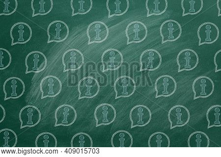 Pattern From Info Icons Drawn In Chalk On A Blackboard. Contact Center, Call Center, Service Center,
