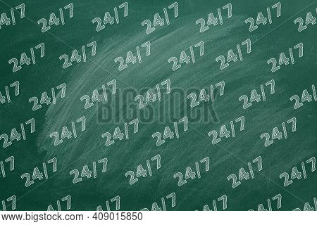 Pattern From Lettering 24-7 Drawn In Chalk On A Blackboard. Contact Center, Call Center, Service Cen