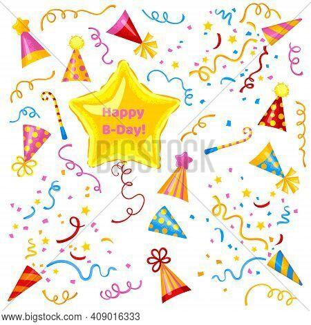 Birthday Celebration Set. Cute Balloon, Birthday Caps, Serpentine Cracker And Confetti Poppers. Happ