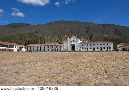Main Square Of Villa De Leyva City Located On The Boyaca Department In Colombia