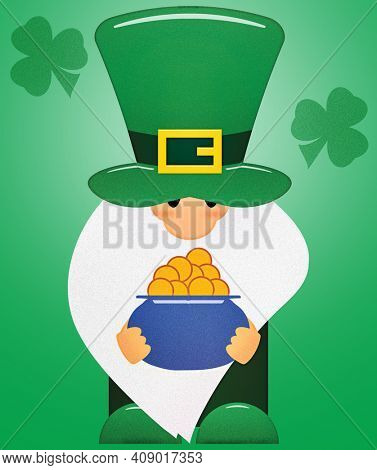 Little Leprechaun with Shamrocks and a Pot of Gold with Clipping Path on Green for poster, card, or shirt designs.