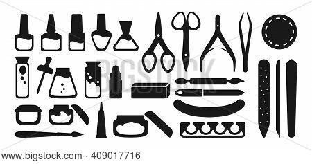 Manicure Equipment Icon Set Tools Simple Vector