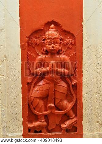 Close-up View Of Indian Hindu God Hanuman Statue In A Temple