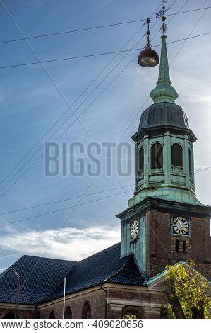 Copenhagen, Denmark - Oct 19, 2018: Upper Dome And Spire Design Of The Garnisonkirken Christian Chur