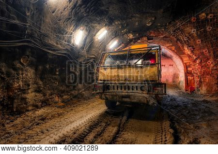 Underground Transport Vehicle. Special Transport Equipment For Mines And Tunnels.