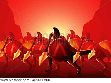 Vector Illustration Of The Famous Three Hundred Spartans At The Battle Of Thermopylae