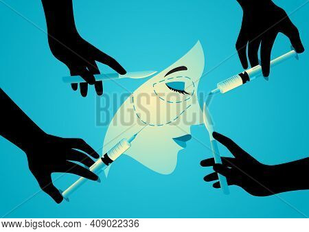 Vector Illustration Of Hands Holding Scalpels And Syringes Near Woman Face, Symbol Of Plastic Surger