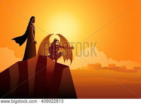 Biblical Vector Illustration Series, The Temptation Of Jesus Christ