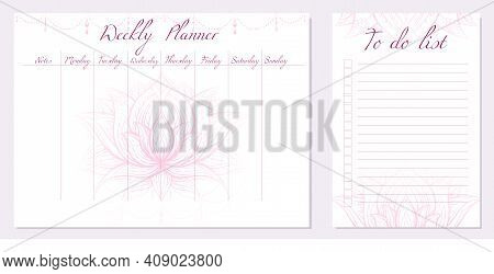 Set Of Day Organization Templates With Tribal Lotus. Weekly Planner And To Do List. Pink Water Lily