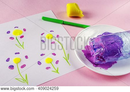 Diy And Kids Creativity. Draw Greeting Card With Flowers Using Paints, Plastic Bottle And Plasticine