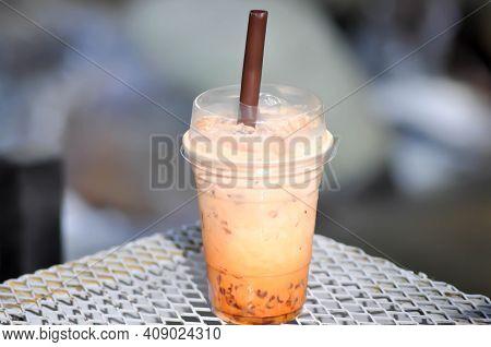 Iced Tea ,milk Tea Or Thai Tea Or Bubble Tea
