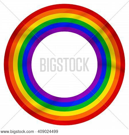 Flag Lgbt Icon, Round Frame. Template Design, Vector Illustration. Love Wins. Lgbt Logo Symbol In Ra